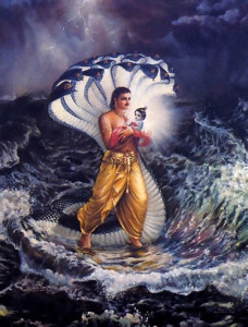 Acting as an umbrella, Ananta Sesa, an expansion of Lord Visnu, shelters Vasudeva and baby Krsna from the rain as they cross the Yamuna River.